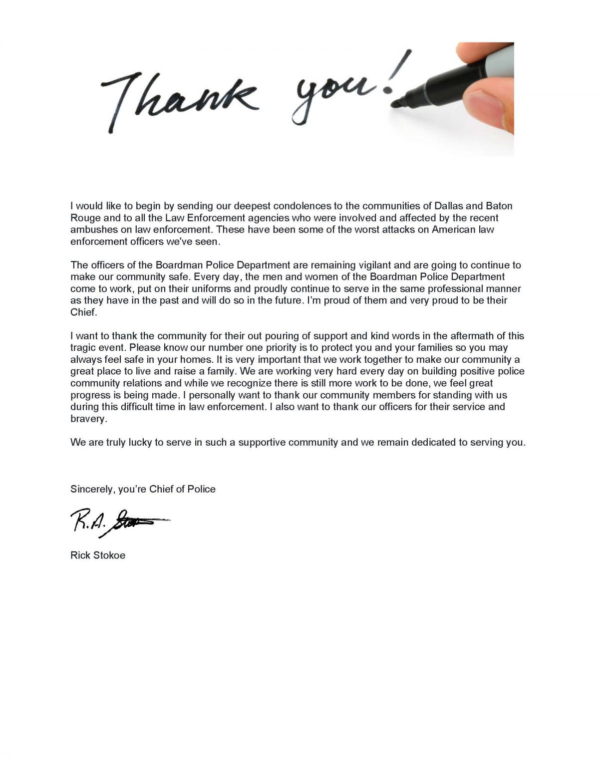 a letter of thank you from the chief of police